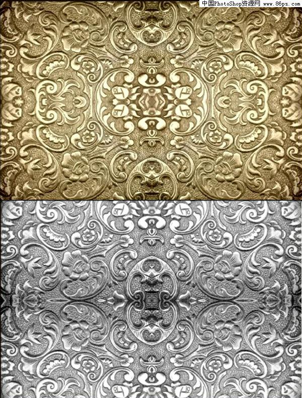 cdr格式金属质感浮雕花纹背景矢量素材免费下载