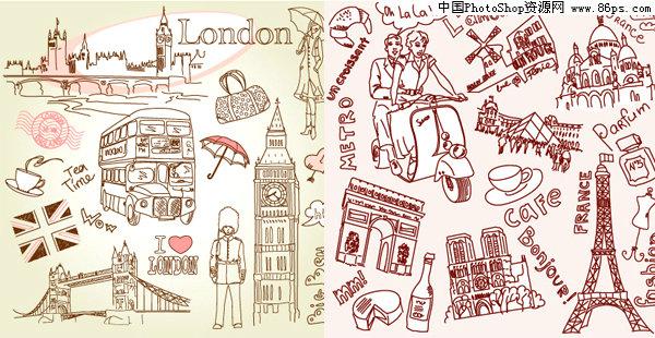 eps格式线条涂鸦巴黎和伦敦名胜古迹矢量素材免费下载