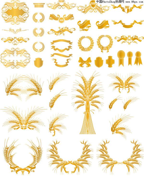 eps格式欧式风格金色花纹装饰元素矢量素材免费下载