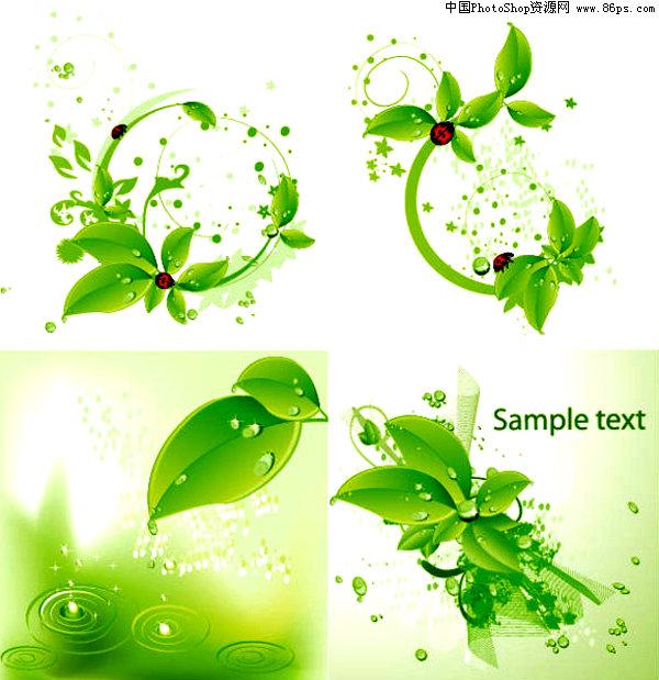 eps格式绿色清新绿叶和瓢虫背景矢量素材免费下载