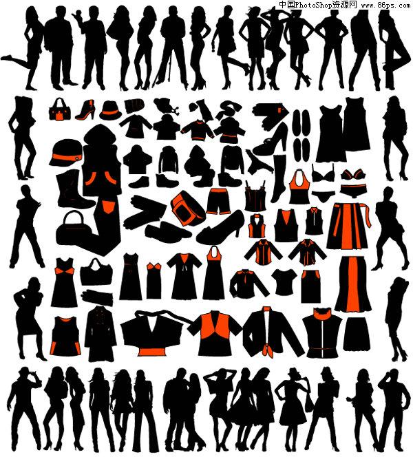 eps格式各种男女人物剪影和服装矢量素材免费下载