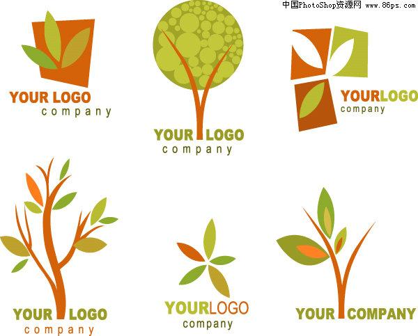 eps格式几款树木主题logo设计模板矢量素材免费下载