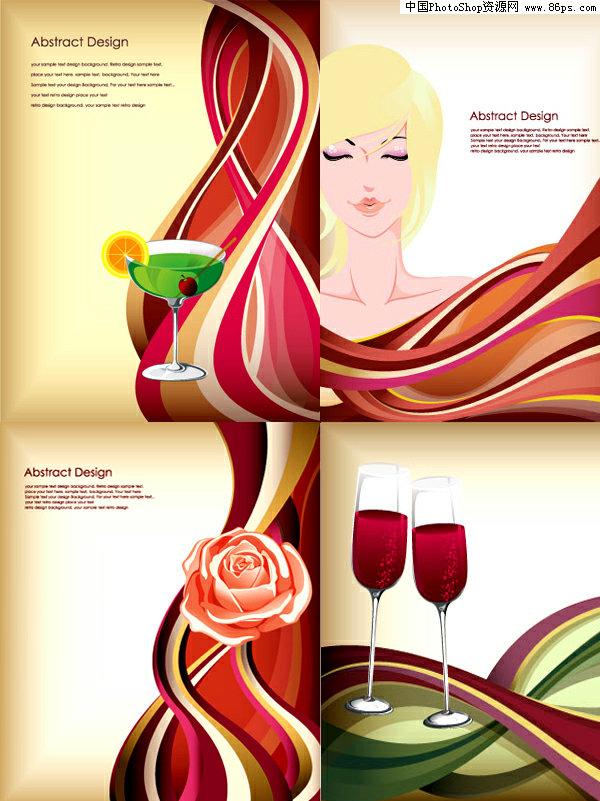 玫瑰美女手绘线条图