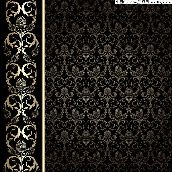 eps格式一款欧式华丽花纹壁纸背景矢量素材免费下载图片