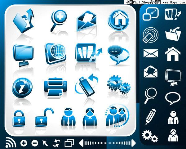 eps格式蓝色立体办公主题图标矢量素材免费下载