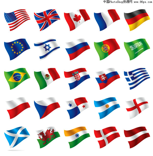 关键字:矢量国旗,各国国旗