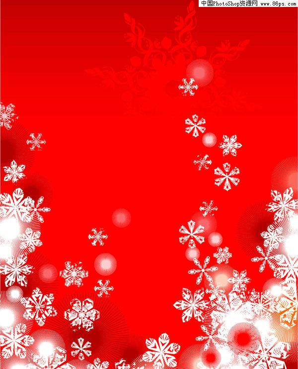 eps格式2款红色圣诞雪花背景矢量素材免费下载