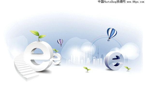 矢量,e时代,网络时代,科技,字母e,城市建筑剪影,楼梯,插画,绿苗,,矢量