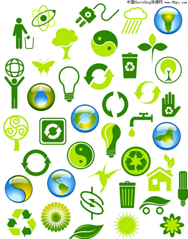矢量标志,环保标志,绿色环保标志,实用,灯泡,插座,垃圾桶,蝴蝶,水图片