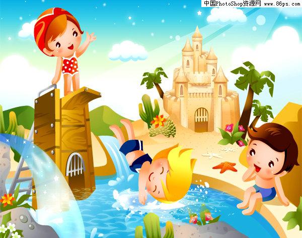 ai格式跳水卡通儿童运动矢量素材免费下载