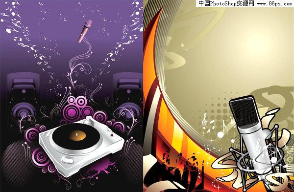ai格式音乐主题潮流麦克风和dj矢量图免费下载