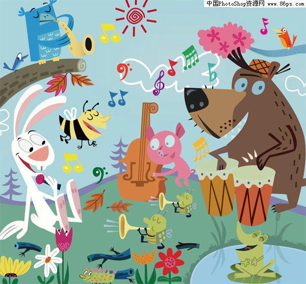 ai格式森林音乐会可爱卡通动物矢量素材免费下载