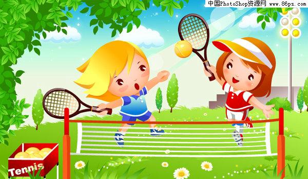 ai格式可爱卡通儿童网球运动矢量素材免费下载