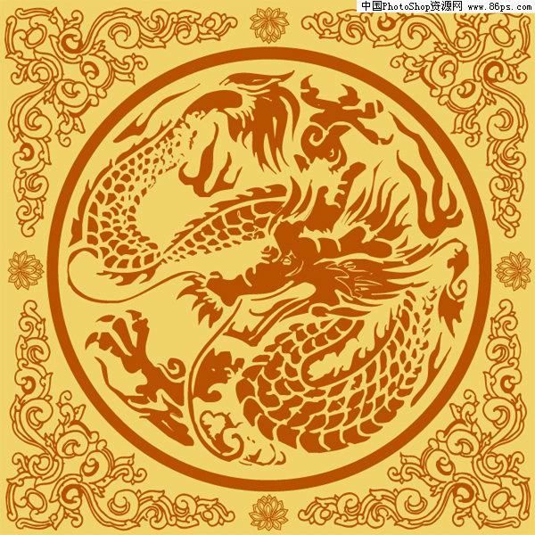 ai格式中国古典龙纹矢量素材免费下载
