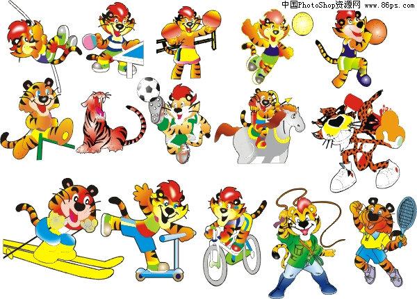 ai格式cdr格式可爱卡通运动小虎矢量素材免费下载