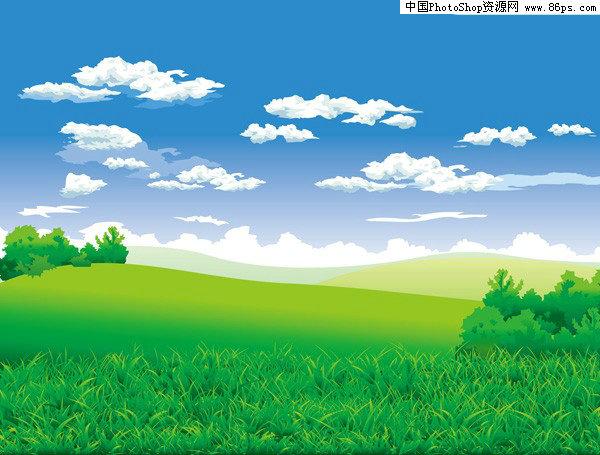 蓝天白云矢量绘图