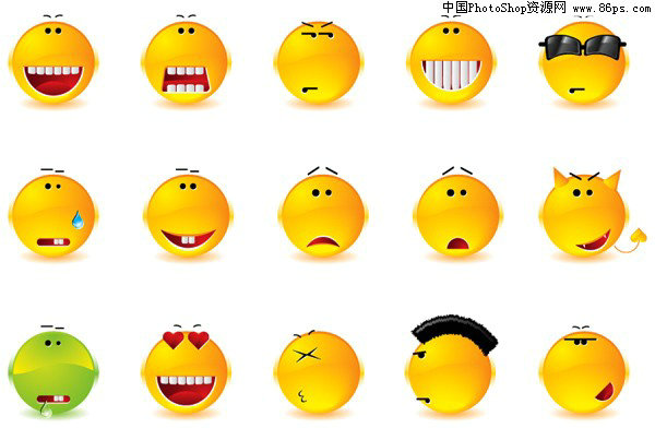 S格式一组搞笑表情图标矢量素材免费下载