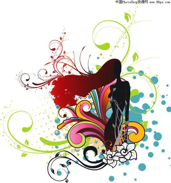 矢量人物,花纹,潮流,插画,女性,剪影,时尚,植物花纹,墨迹,矢量素材.