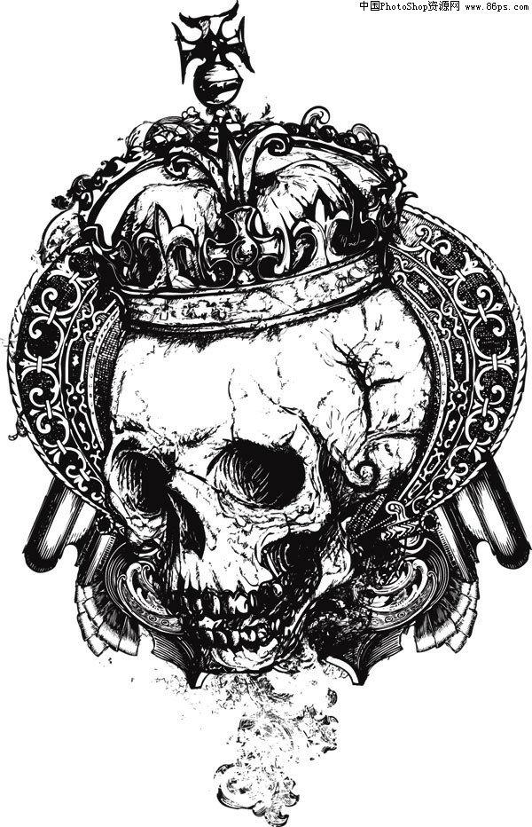 ai格式黑白潮流皇冠骷髅头矢量素材免费下载