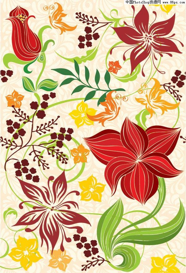 关键字:矢量背景,连续背景,花朵,花卉,手绘花朵,植物,叶子,花纹,矢量