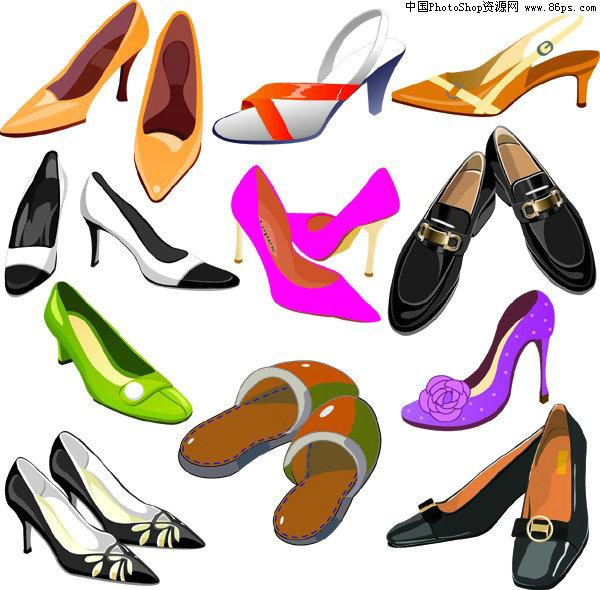 ai格式多款女士高跟鞋矢量素材免费下载