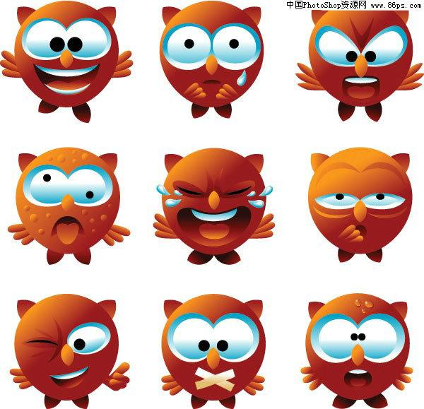 eps格式一组可爱卡通猫头鹰表情矢量素材免费下载