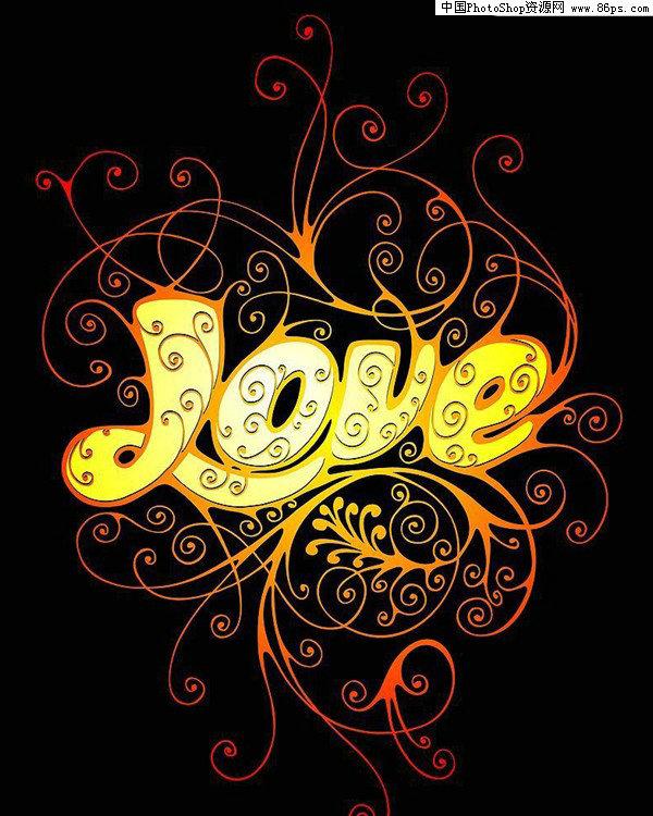 AI手机流行矢量LOVE字体v手机素材格式免费下网站花纹界面设计图片