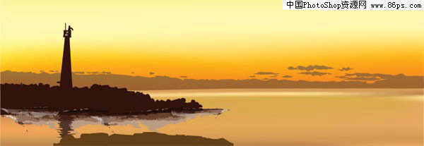 ai格式黄昏时分海岛上的灯塔矢量素材免费下载
