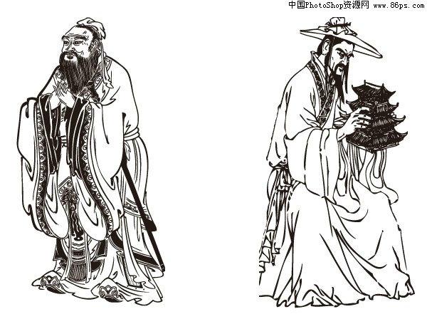 孔子手绘图海报