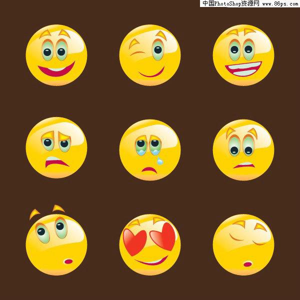 ai格式一组可爱圆形表情图标矢量素材免费下载