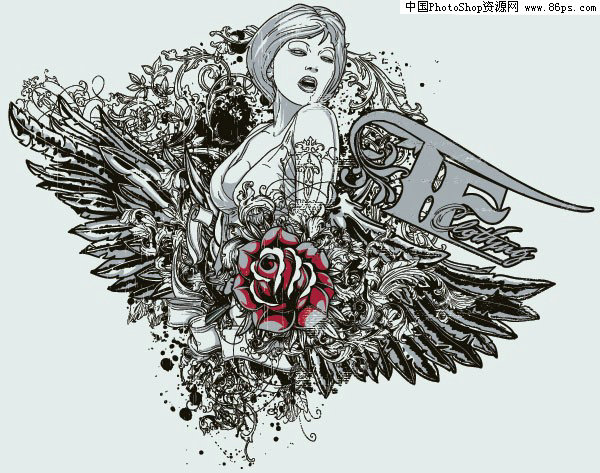 关键字:潮流图案,黑白,线描,矢量,人物,女性,女人,翅膀,玫瑰花,花纹