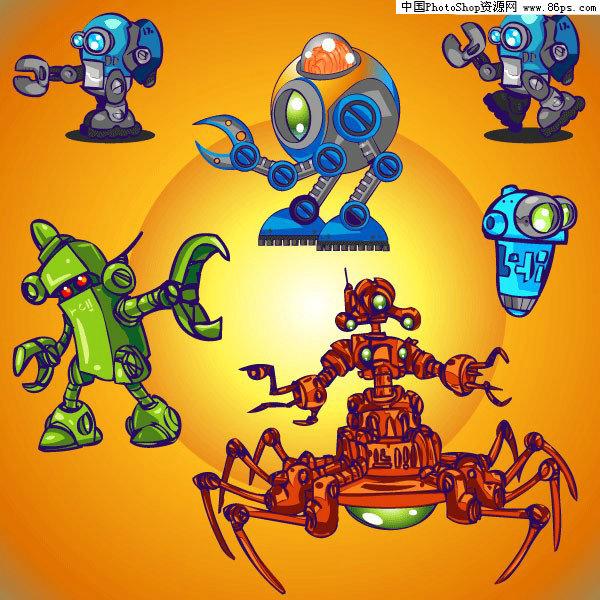 eps格式可爱卡通机器人矢量素材免费下载