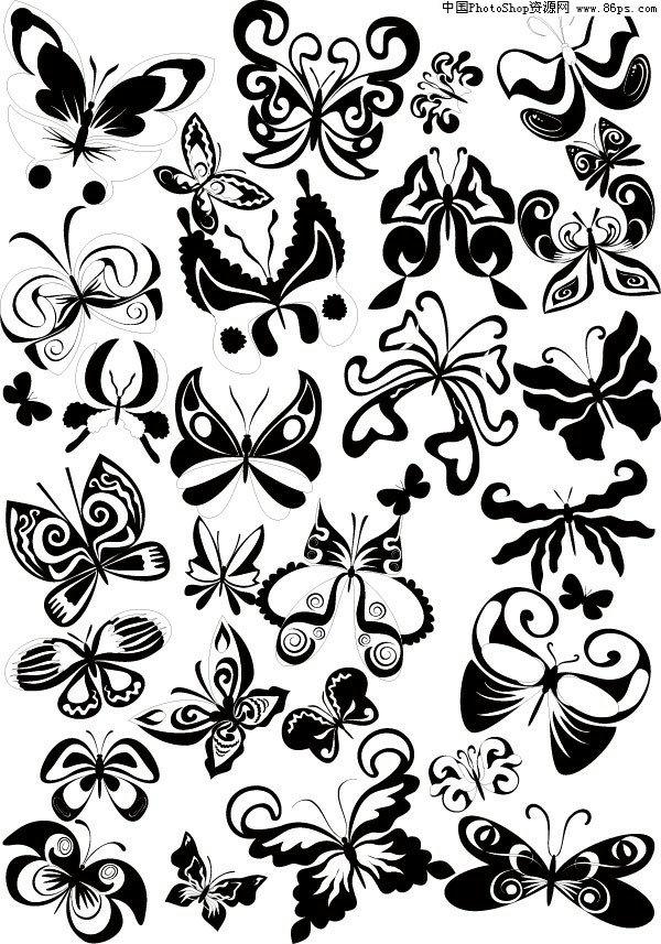 eps格式黑白蝴蝶花纹矢量素材免费下载