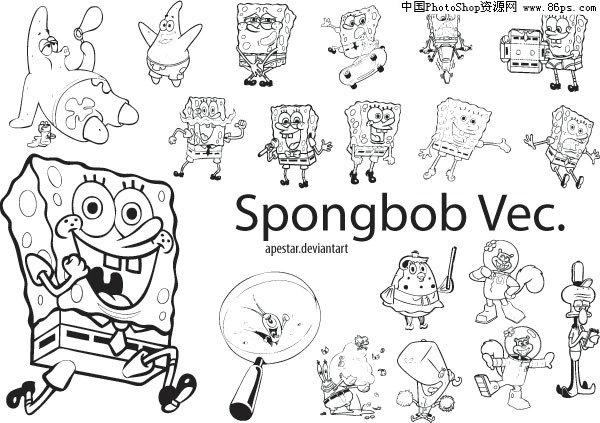 含jpg预览图,关键字:矢量卡通,卡通人物,spongebob,玩滑板,骑车,唱歌