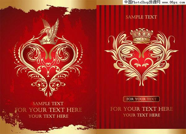 欧式金色花纹红色背景 皇冠