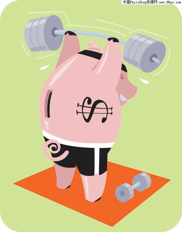 eps格式玩杠铃的可爱小猪矢量素材免费下载 [中国资源