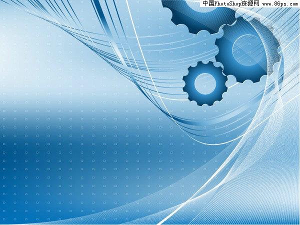 eps格式蓝色动感线条与齿轮背景矢量素材免费下载