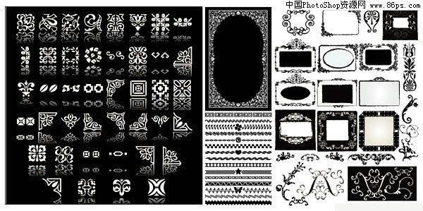 eps格式,含jpg预览图,关键字:黑白色调,边框,花纹,欧式,古典,对