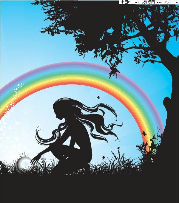 人物剪影,彩虹,植物剪影,树木剪影,花草剪影,蝴蝶剪影,水珠,矢量素材.
