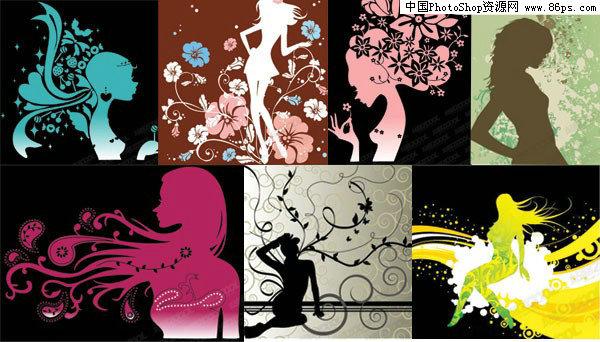 女性,潮流元素,人物剪影,时尚花纹,动感线条,花卉,植物,矢量素材.