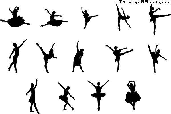 eps格式一组优美的芭蕾舞动作剪影矢量素材免费下载