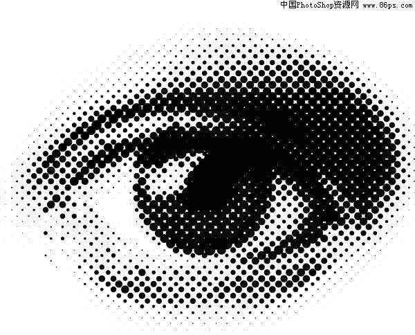 眼球贴图_eps格式由圆点组成的眼睛矢量素材免费下载