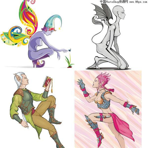 AI漫画四款人物中的矢量全集格式素材免费下载漫画荒莽精灵图片