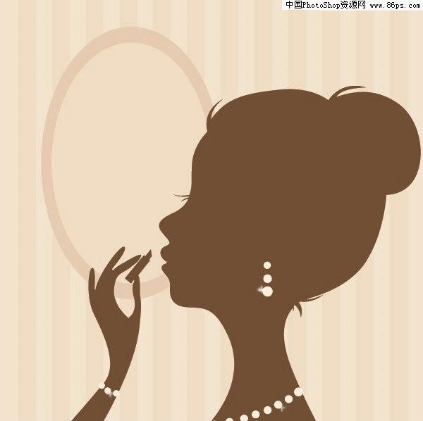 含jpg预览图,关键字:矢量人物,女性,剪影,侧面,化妆,涂唇膏,首饰,镜子图片