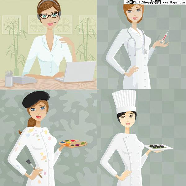 关键字:矢量人物,职业女性,女性,艺术家,医生,厨师,白领,矢量素材.