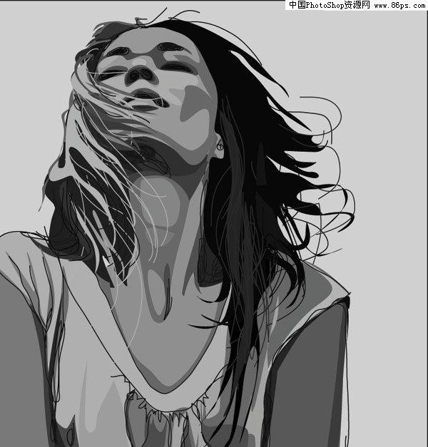 ai格式一款立体感超强的女性黑白头像矢量素材免费