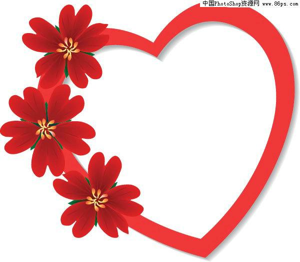 eps格式心形边框花朵花纹矢量素材包免费下载