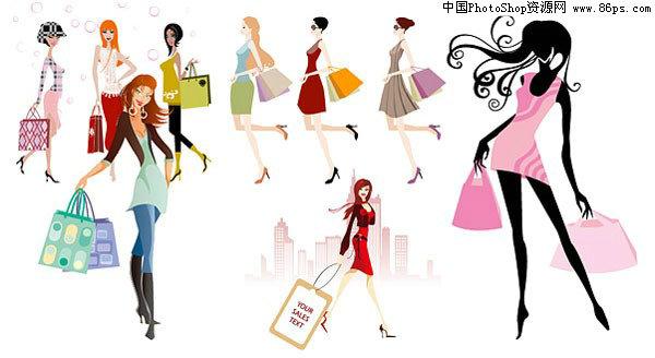 eps格式多款时尚购物女孩矢量素材免费下载