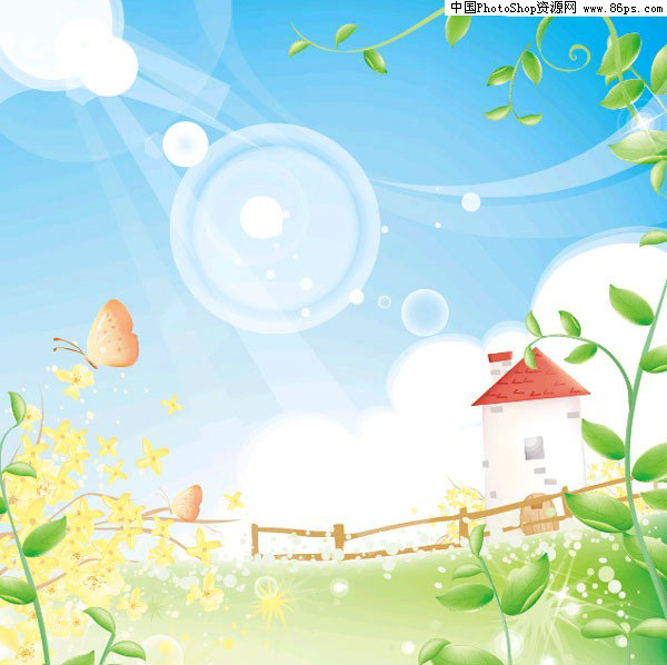 ai格式房子篱笆草地风光矢量素材免费下载