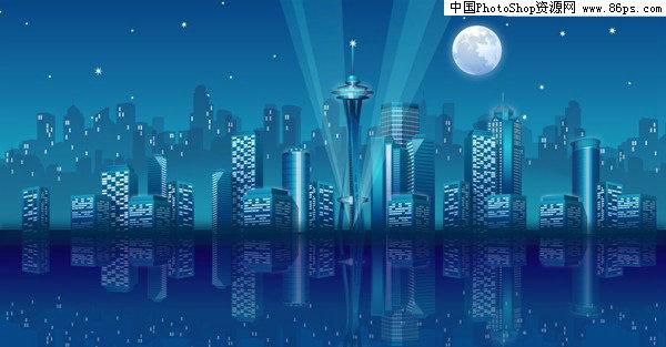 ai格式2款ai格式城市夜景矢量素材免费下载